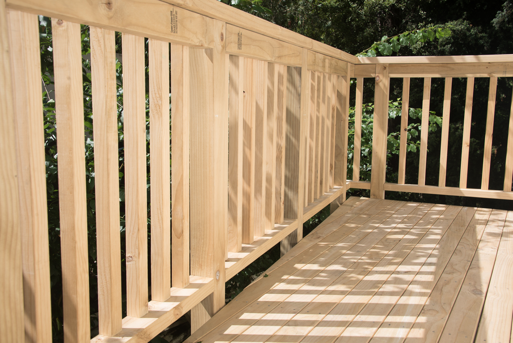 A treated pine wooden deck